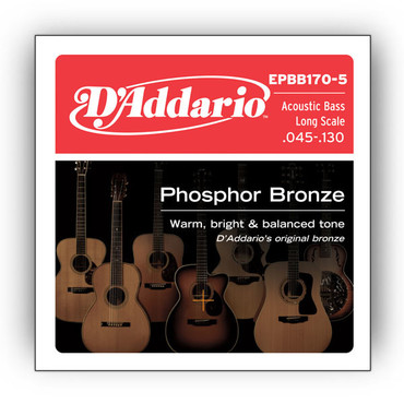 D'Addario Phosphor Bronze 5-String Acoustic Bass Long Scale EPBB170-5 (45-130) image