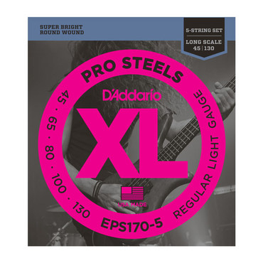 D'Addario Bass ProSteels 5-String Light EPS170-5 (45-130) image