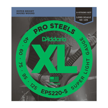 D'Addario Bass ProSteels 5-String Super Light Long Scale EPS220-5 (40-125) image