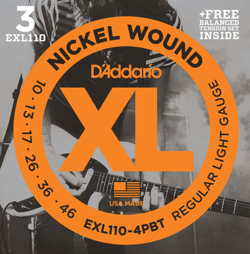 D'Addario Nickel Wound Regular Light 4 Pack EXL110-4BT (10-46) image