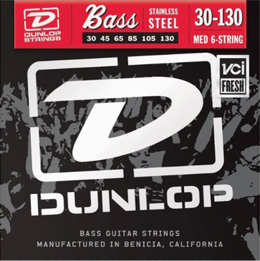 Dunlop Electric Bass Stainless Steel Medium 6 String DBS30130 (30-130) image