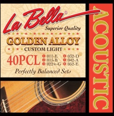 La Bella Acoustic Golden Alloy Custom Light 40PCL (11-52) image