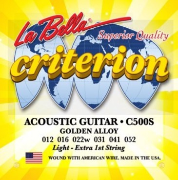 La Bella Criterion Acoustic Guitar Golden Alloy Light C500S (12-52) image