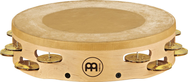 Meinl Headed Artisan Tambourine Solid Brass Jingles 2 Rows AE-MTAH2B image