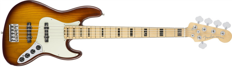 Fender American Elite Jazz Bass V Ash Maple Tobacco Sunburst 1