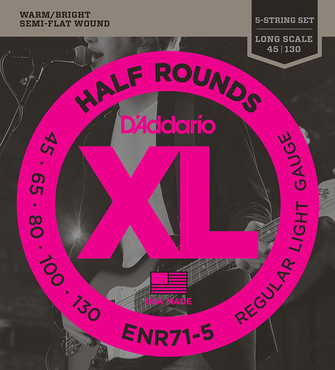 D'Addario Bass Half Rounds 5-String Regular Light ENR71-5 (45-130) 0