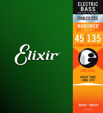 Elixir Nanoweb 14782 5-String Stainless Steel Light Medium Long Scale (45-135) 0