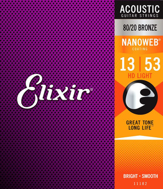 Elixir Nanoweb 80/20 Bronze 11182 HD Light (13-53) 0