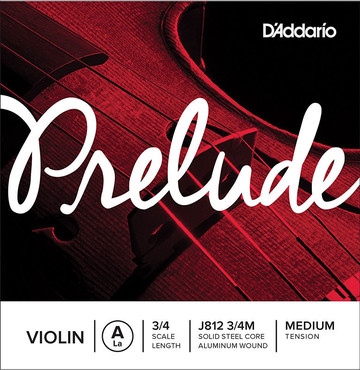 D'Addario Prelude Violin Single A String 3/4 Scale Medium Tension J812 3/4M 0
