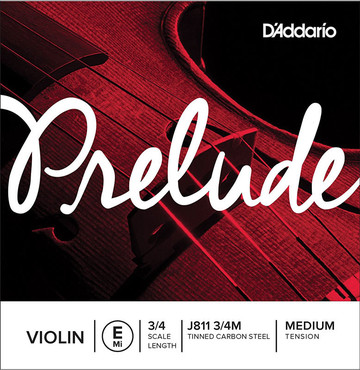 D'Addario Prelude Violin Single E String 3/4 Scale Medium Tension J811 3/4M 0