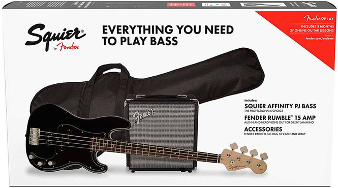 Fender Squier Affinity Precision Bass PJ Pack Laurel Black 0