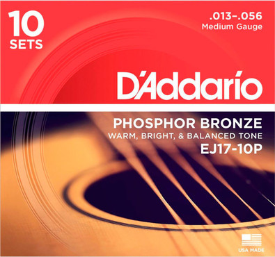 D'Addario Phosphor Bronze Medium EJ17-10P (13-56) 0