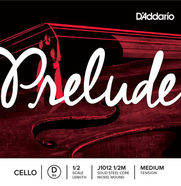D'Addario Prelude Cello Single D String 1/2 Medium Tension J1012 1/2M 0
